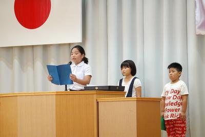 学年代表で夏休みの思い出と2学期の目標の発表