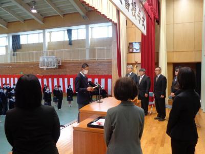 着任式・・・生徒会長:山浦君による歓迎の言葉