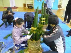 松、竹、梅の飾りつけ